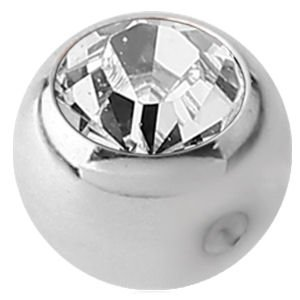 Titanium Clip-in Jewelled Ball - Clear