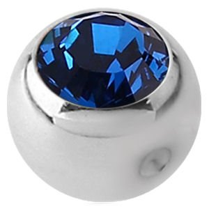 Titanium Clip-in Jewelled Ball - Dark Blue