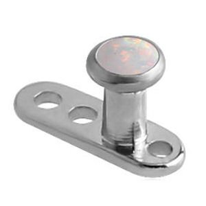 Titanium Dermal Anchor With Opal Jewelled Disc - White