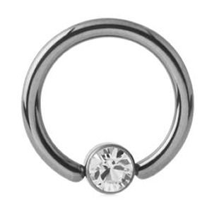 Titanium Jewelled Ball Closure Ring - Crystal Clear