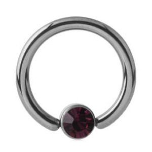 Titanium Jewelled Ball Closure Ring - Purple