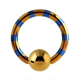 Two Tone Titanium Ball Closure Ring - Yellow & Blue