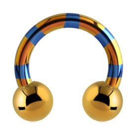 Two Tone Titanium Circular Barbell - Yellow & Blue