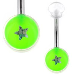 UV Belly Button Bar (Green Star)