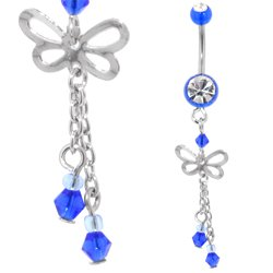 UV Belly Button Dangle (Blue Butterfly)