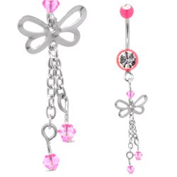 UV Belly Button Dangle (Pink Butterfly)