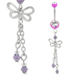UV Belly Button Dangle (Purple Butterfly)