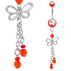 UV Belly Button Dangle (Red Butterfly)