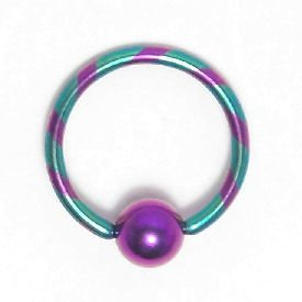 Venetian Striped Titanium Ball Closure Ring - Purple & Green