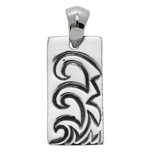 Wave Engraved Dog Tag Pendant