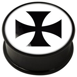 PMMA Ikon flesh plug - Ikon Plug Black Cross