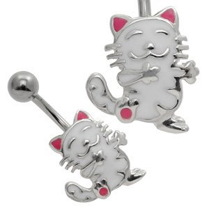Silver and Steel Belly Piercing Bar - White Cat