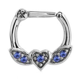 Winged Heart Jewelled Septum Piercing Clicker Ring - Blue