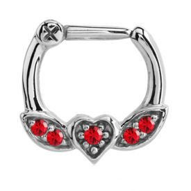 Winged Heart Jewelled Septum Piercing Clicker Ring - Red