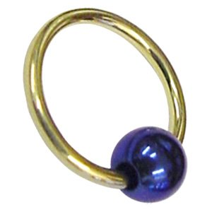 Zircon Gold Ball Closure Ring with Coloured Titanium Ball - Dark Blue