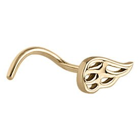 Zircon Gold Flames Curved Nose Stud