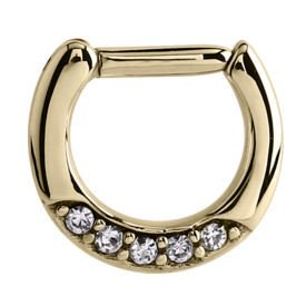 Zircon Gold Jewelled Hinged Septum Clicker Ring - Crystal