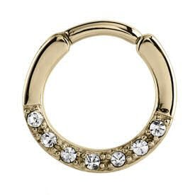 Zircon Gold Jewelled Septum Clicker Ring - Crystal