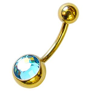 Zircon Gold Mini Jewelled Bananabells - Light Blue
